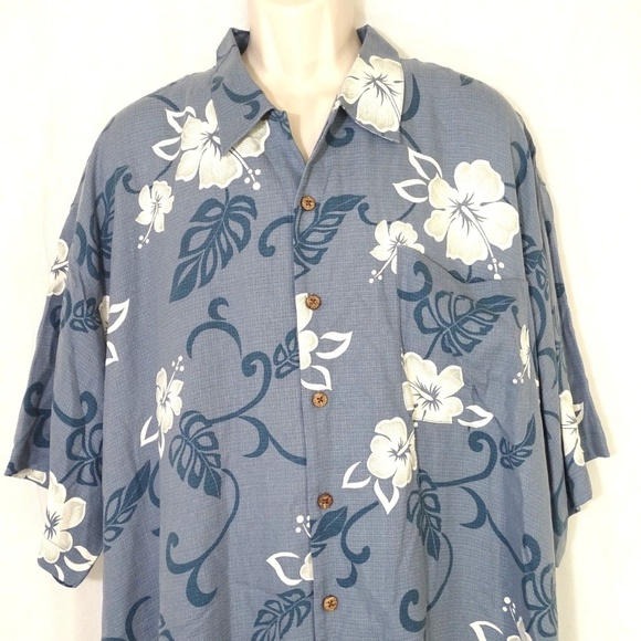 Tommy Bahama 100% Silk Hawaiian Navy Green Floral Short Sleeve Shirt Sz Xxl Shirts Casual Button-down Shirts